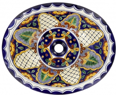 San Miguel Talavera Ceramic Oval Drop In Bathroom Sink