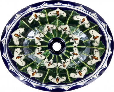 Callalilies Talavera Ceramic Oval Drop In Bathroom Sink