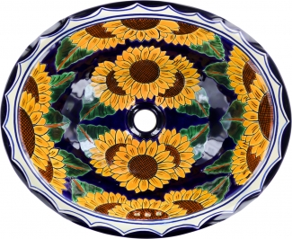 Sunflowers Talavera Ceramic Oval Drop In Bathroom Sink