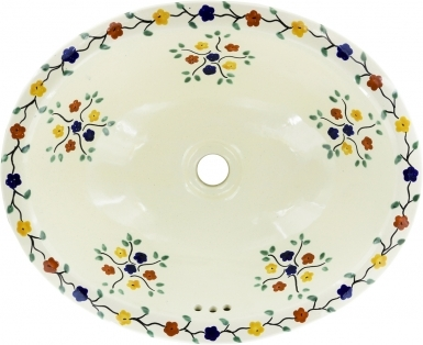Bouquet Talavera Ceramic Oval Drop In Bathroom Sink