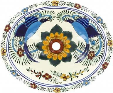 Hummingbird Talavera Ceramic Oval Drop In Bathroom Sink