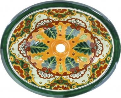 Tepic 2 Talavera Ceramic Oval Drop In Bathroom Sink