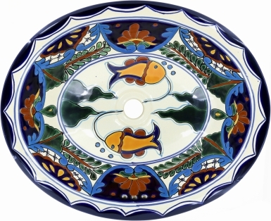 Acapulco Talavera Ceramic Oval Drop In Bathroom Sink