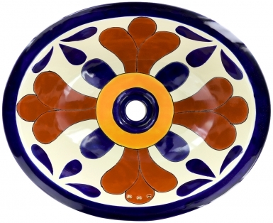 Seville Talavera Ceramic Oval Drop In Bathroom Sink
