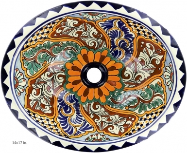 Veracruz Talavera Ceramic Oval Drop In Bathroom Sink