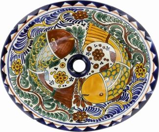 Cabo Talavera Ceramic Oval Drop In Bathroom Sink
