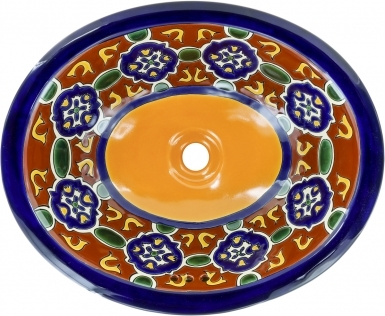 Terra Cotta Granada Talavera Ceramic Oval Drop In Bathroom Sink