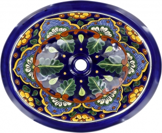 Tepic Talavera Ceramic Oval Drop In Bathroom Sink