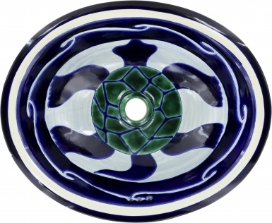 Turtle Talavera Ceramic Oval Drop In Bathroom Sink