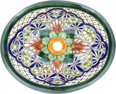Val Paraiso Talavera Ceramic Oval Drop In Bathroom Sink