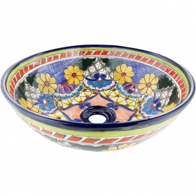 Reynosa Talavera Round Vessel Bathroom Sink
