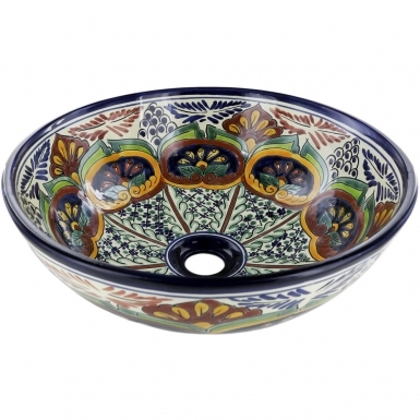 Puebla Talavera Round Vessel Above-Counter Bathroom Sink