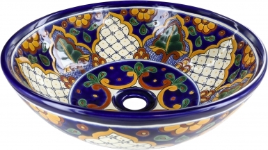 San Miguel Talavera Round Vessel Above-Counter Bathroom Sink