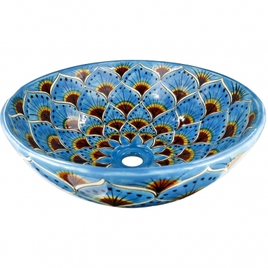 Turquoise Peacock Talavera Round Vessel Above-Counter Bathroom Sink