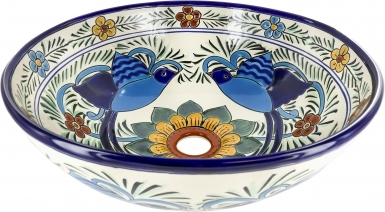Hummingbird Talavera Round Vessel Above-Counter Bathroom Sink