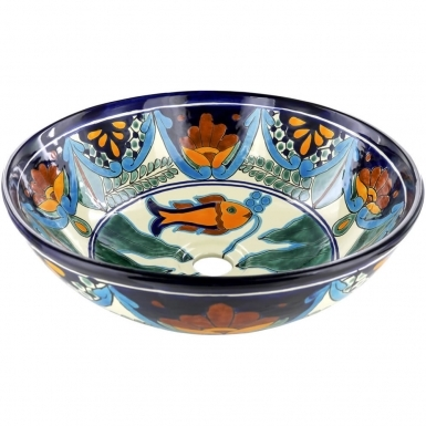 Acapulco Talavera Round Vessel Above-Counter Bathroom Sink