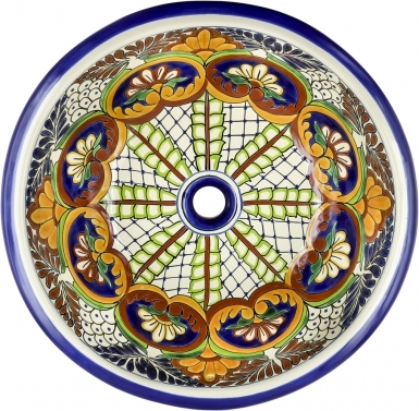 Puebla Talavera Ceramic Round Drop-In Bathroom Sink