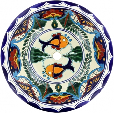 Acapulco Talavera Ceramic Round Drop-In Bathroom Sink