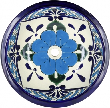 Polanco 3 Talavera Ceramic Round Drop-In Bathroom Sink