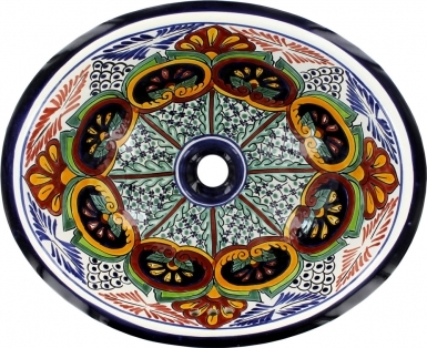 Puebla on Pure White Talavera Ceramic Oval Drop In Bathroom Sink