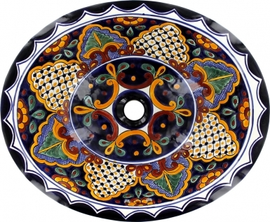 San Miguel on Pure White Talavera Ceramic Oval Drop In Bathroom Sink
