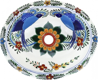 Hummingbird on Pure White Talavera Ceramic Oval Drop In Bathroom Sink