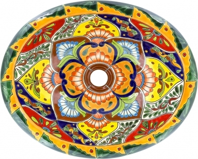 Candelaria Mexican Talavera Ceramic Drop-In Bathroom Sink