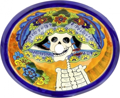 Catrina Mexican Talavera Ceramic Drop-In Bathroom Sink