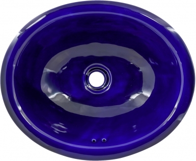 Cobalt Blue Talavera Ceramic Oval Drop In Bathroom Sink