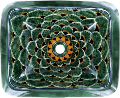 Green Peacock Talavera Rectangular Drop-In Bathroom Sink