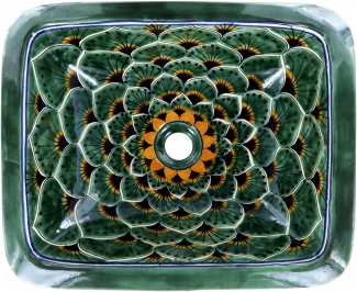 Green Peacock Talavera Rectangular Drop In Bathroom Sink