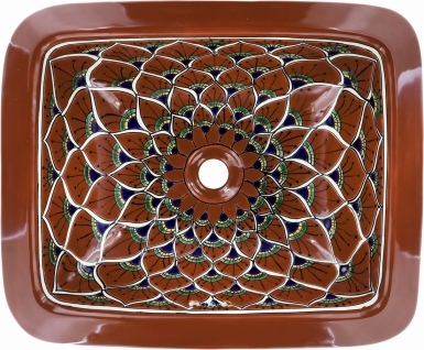 Terra Cotta Peacock Talavera Rectangular Drop-In Bathroom Sink