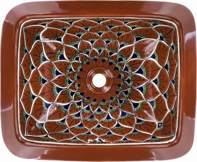 Terra Cotta Peacock Talavera Rectangular Drop-In Bathroom Sink