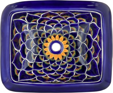 Blue Peacock Talavera Rectangular Drop-In Bathroom Sink