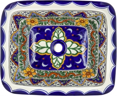 Rio Verde Talavera Rectangular Drop-In Bathroom Sink