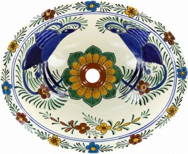 Hummingbird 2 Mexican Talavera Ceramic Drop-In Bathroom Sink