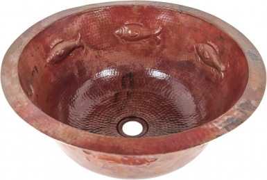 Fish Round Natural Undermount Copper Bathroom Sink