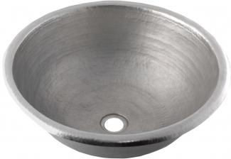 Classic Round Brushed Nickel Drop In Copper Bathroom Sink