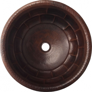 Brick Round Antique Drop-in Copper Bathroom Sink