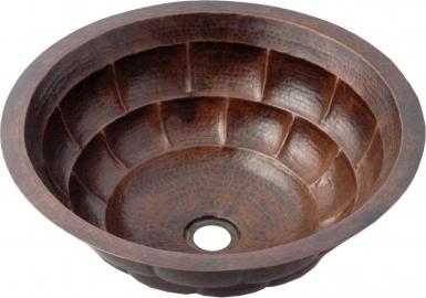 Brick Round Antique Undermount Copper Bathroom Sink