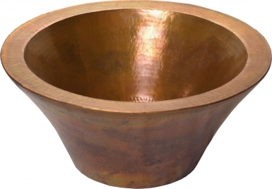 Cazo Round Double Wall Vessel Golden Patina Copper Bathroom Sink