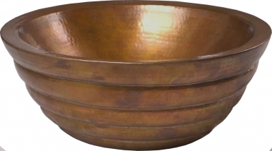 Honey Comb Round Vessel Golden Patina Copper Bathroom Sink