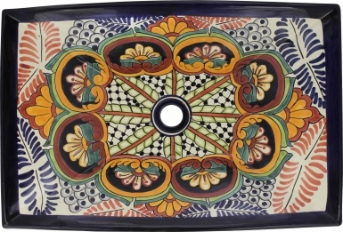 Puebla Talavera Rectangular Vessel Bathroom Sink