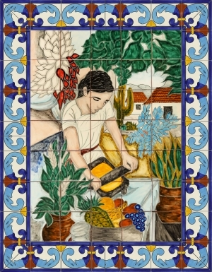 Grinding Woman Ceramic Tile Mural
