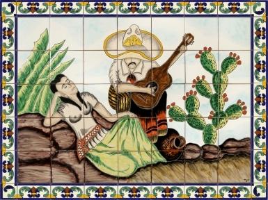 La Ranchera y El Musico Ceramic Tile Mural