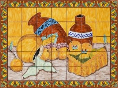 Cantaros y Frutas Ceramic Tile Mural