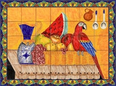 Frutas y Guacamaya Ceramic Tile Mural