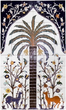 Large Persian Palm Tree Santa Barbara Tile Mural