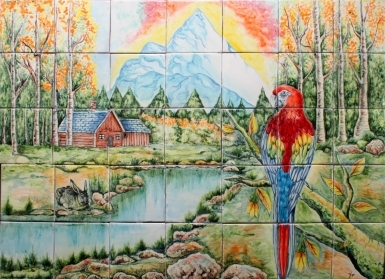 Guacamaya in Lagoon Ceramic Tile Mural