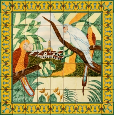 Pericos en Vallarta Ceramic Tile Mural